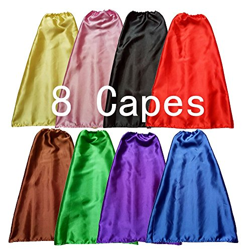 YIISUN Children Dress Up Capes for Kids Cape Costume Birthday Party DIY Capes Set of 8