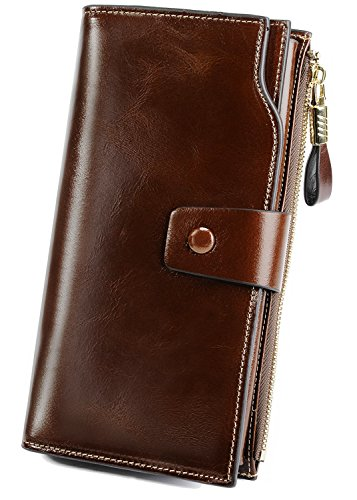 - YALUXE Women's Wax Genuine Leather RFID Blocking Large Capacity Luxury Clutch Wallet Card Holder Organizer Ladies Purse Wallets for women brown Coffee