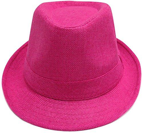 Verabella Mens Short Brim Panama Natural Straw Fedora/Trilby Summer Hat,TRO.Pink ()