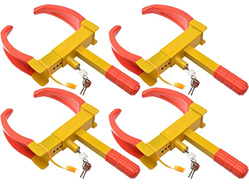 TMS 4pcs of Wheel Lock Clamp Boot Tire Claw Auto Car Truck RV Boat Anti-Theft Towing