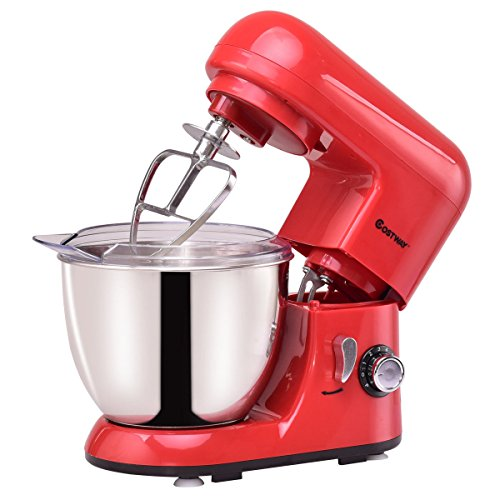 Costway Tilt-head Stand Mixer 4.3Qt 6-Speed 120V/550W Electric Food Mixer w/ Stainless Steel Bowl (Red)