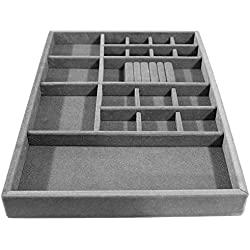 Jewelry Tray Organizer, Wood and Velvet for Jewels, Rings, Necklaces, Bracelets, 20 Compartments, Protects Jewelry, Drawer Insertable, Stackable, Light and Durable , (Gray/Silver)