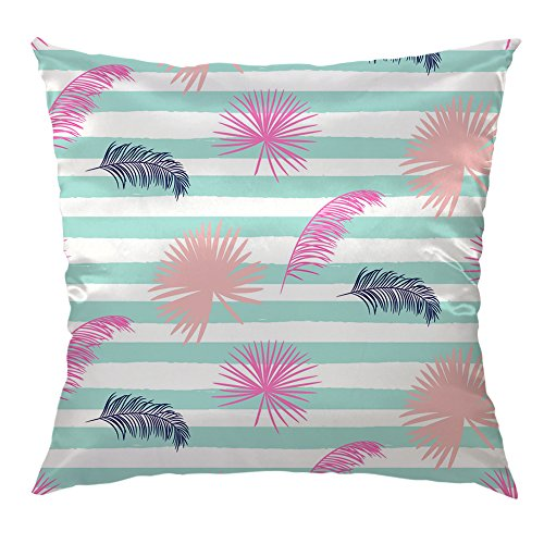 HGOD DESIGNS Throw Pillow Cover pink banana palm leaves striped blue Silk Satin Cover Decorative Home Decor Cushion Cover 16x16 inch for Sofa Square Pillowcase (Striped Banana Satin)