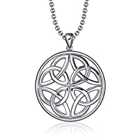 Silver Circle Round Celtic Triquetra Trinity Knot Stainless Steel Pendant Necklace