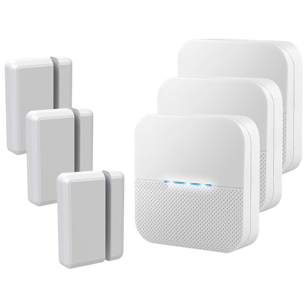 Wireless Door Open Chime Entrance Entry Alert Kit for Business Home Store 3 Receiver 3 Magnetic Door Window Sensor 52 Ringtones 4 Volume Level