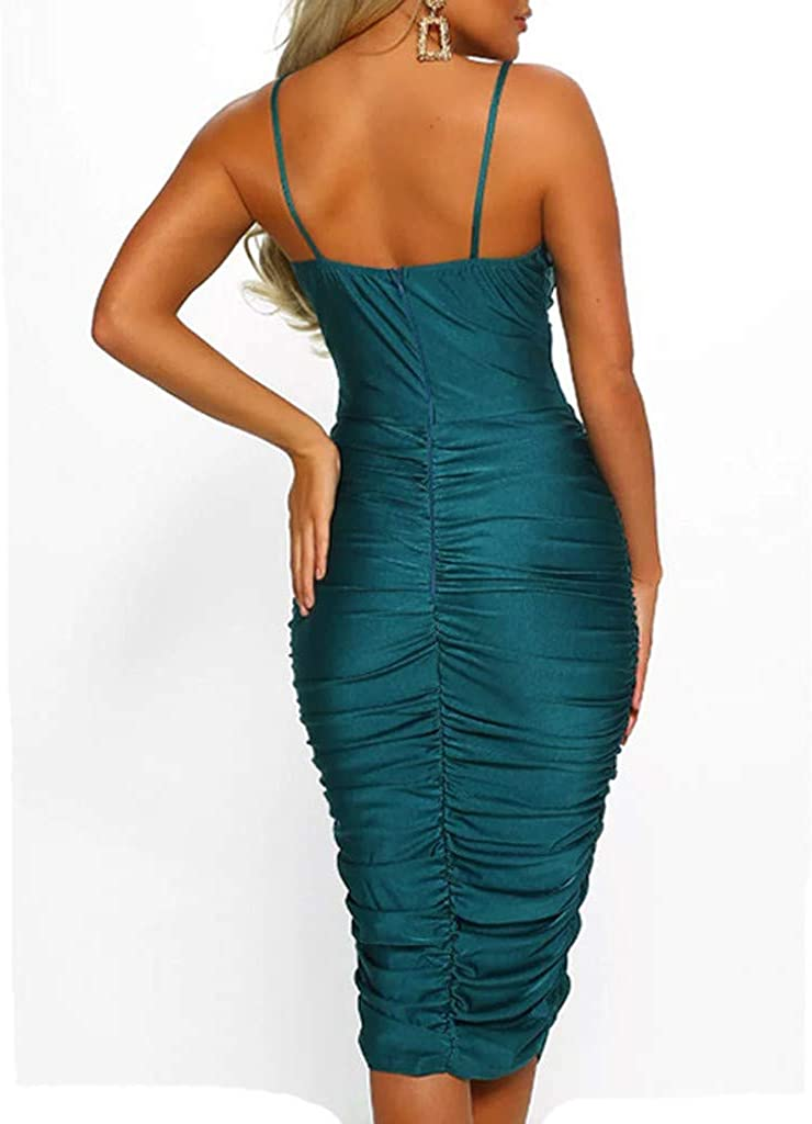 general3 Women Sheath Dresses Solid Sleeveless V-Neck Camis Bodycon Midi Club Party Dress