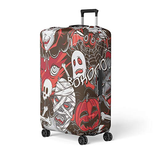 Pinbeam Luggage Cover Pattern Halloween Horror Monsters Vampire Cute Cat Helloween Travel Suitcase Cover Protector Baggage Case Fits 18-22 -