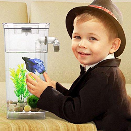 Toogoo LED Mini Fish Tank Aquarium Self Cleaning Fish Tank Bowl Convenient Desk Aquarium for Office Home Decoration Pet Accessories by Toogoo (Image #3)