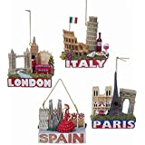 Europe Traveler City Ornaments, London, Paris, Italy and Spain (1 of each Ornament)