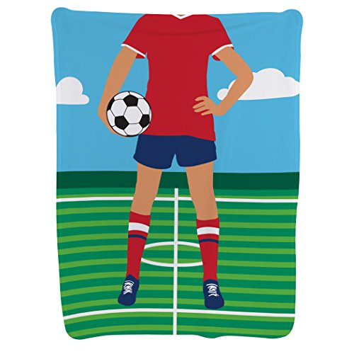 Girl's Soccer Player Baby Blanket | Baby Blanket by ChalkTalkSPORTS | Medium Skin Tone by ChalkTalkSPORTS