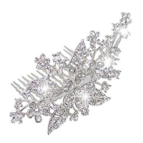 EVER FAITH Women's Austrian Crystal Wedding Elegant 3 Flower Leaf Hair Comb Clear Silver-Tone