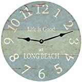 Personalized Beach Wall Clock- Light Blue And Seafoam Green Clock