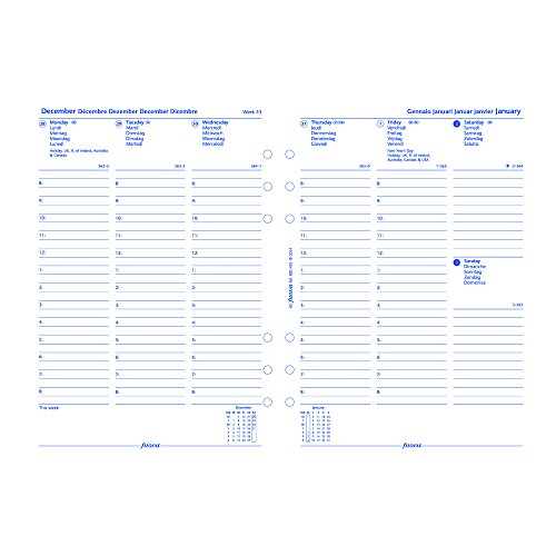 """Filofax Week to View Refill for 2016 A5 Size Yearly Calendar, 8.25 x 5.75"""" (C68514BL-16)"""