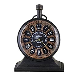 Style Antique Retro Vintage-Inspired World Globe Brass Metal Christmas Table Clock Gift for Home Decor - 2.5 Inch