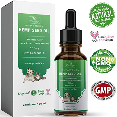 Hemp Oil {Full Spectrum Extract 500mg} for Dogs Cats Pets w/ Coconut Oil - Supports Anxiety Calming Supplement Joint Pain Relief & Inflammation Improves Energy Digestion Healthy Hair Smooth Skin 2oz