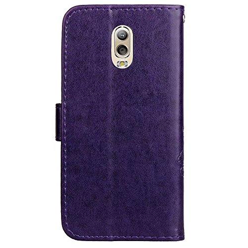 LEMORRY Samsung Galaxy C7 (2017) Hülle Tasche Ledertasche Beutel Haut Slim Magnetisch SchutzHülle mit Kartenschlitz Weich Silikon Cover Handyhülle Schale für Galaxy C7 2017, Glücklicher Klee (Violett) Lila