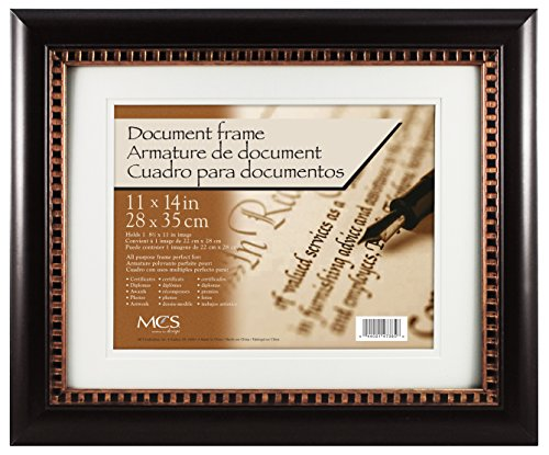 MCS 66977 Double Matted Deluxe Document Frame, Espresso and Bronze, - Deluxe Frame Document