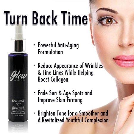 Glow Vitamin C Serum for Face & Neck, Paraben Free, Anti-Aging with Aloe Leaf Juice Extract, Tumeric, Algae Extract & Asorbic Acid, 1.7 fl oz