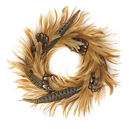 (Zucker Feather Products Natural Pheasant Feather Christmas Wreath-16 Farmhouse Autumn or Fall Decor,)
