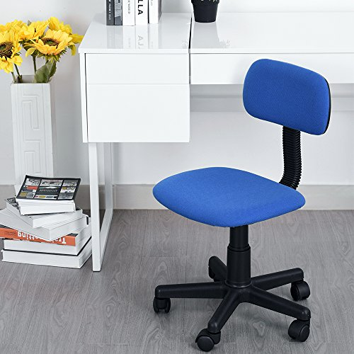 Azadx Office Chair, Low-Back Study Chairs Adjustable Swivel Computer Chair Armless Task Chair for Home/Office/Study Use (Blue) by Azadx