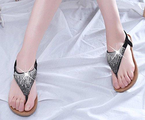 Jamicy Women Girls Fashion Summer Flat Shoes Sequin Bohemia Leisure Beach Sandals Peep-Toe Outdoor Flip Flops Shoes Black Ys31GIFb