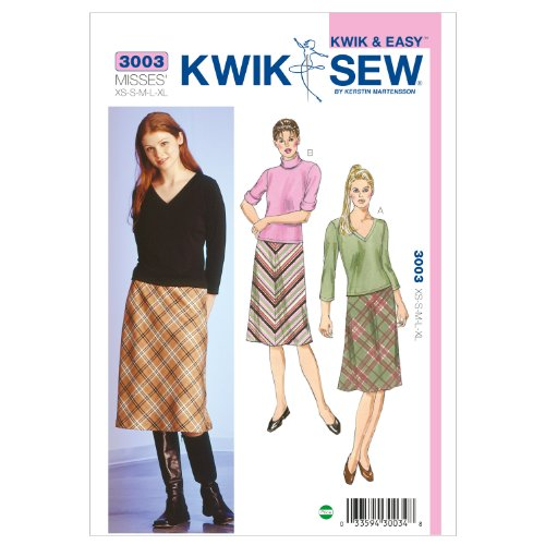 Kwik Sew K3003 Skirts and Tops Sewing Pattern, Size XS-S-M-L-XL Bias Cut Elastic Waist Skirt