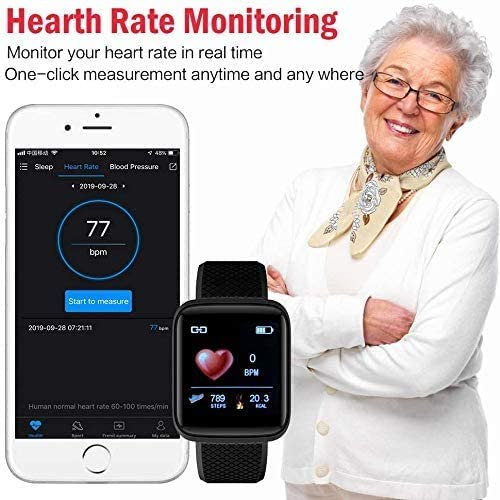 Smart Watch, Fitness Watch, Waterproof Sports Bracelet, Multi-Function Heart Rate Touch Screen with Sleep Tracking Calorie Counter, Pedometer Watch, Suitable for Android/iOS (Black) 514on 6OGTL
