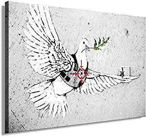 Banksy Graffiti Street Art 1325. Size 100x70x2cm(l/h/w). Canvas On Wooden Frame. Made In Germany.