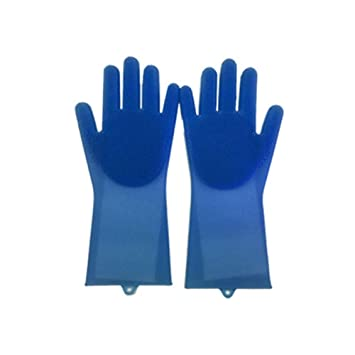 Maharaj 1 Pair Cleaning Silicone Gloves with Wash Scrubber,Magic Food-Grade SakSak Cleaning Brush Scrubber,Heat Resistant Waterproof Reusable Dishwashing Brush for Household,Car