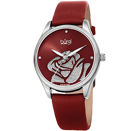 Burgi Women's BUR189RD Rose Cut-Out Dial with Glitter Powder Red Satin Over Leather Strap Watch