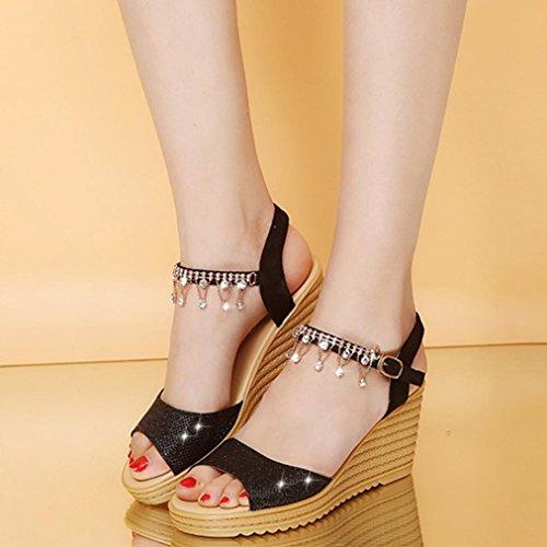 Zapatos de de Sandalias Hebilla Mujer cuña Sandalias de de de Sandalias OHQ para de Zapatos de Hebilla Las Las cuña Punta de de Mujeres Sandalias Plataforma Mujeres Redonda la la Negro la SYqTwA