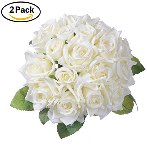 2 Pack Artificial Flowers Rose Bouquet - Artiflr Fake Flowers Silk Plastic Artificial White Roses 18 Heads Bridal Wedding Bouquet for Home Garden Party Wedding Decoration (Artificial Bouquet)
