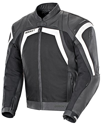 Joe Rocket Meta-X Men's Leather Motorcycle Jacket (Black/White, Size 42)