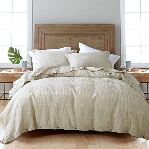 ESASILK 3 Pieces/Lot Linen Duvet Cover Set Linen Bedding Set