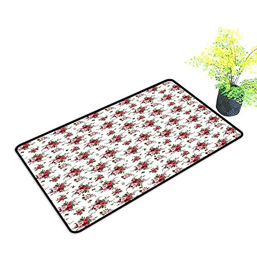 (Zmstroy Printed Door mat Flowers Bridal Bouquets Pattern with Roses and Freesia Romantic Victorian Composition W35 xL59 Non-Slip Backing Pink Ruby Green)