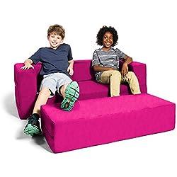 Jaxx Zipline Kids Sofa & Large Ottoman, 3 in 1 Fold Out Sofa, Big Kids Edition, Fuchsia