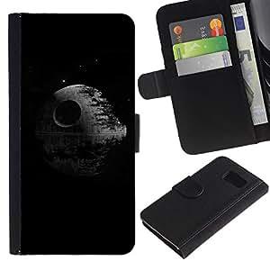 Billetera de Cuero Caso Titular de la tarjeta Carcasa Funda para Samsung Galaxy S6 SM-G920 / Death Black Sci-Fi Movie Classic Minimalist / STRONG