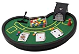 Perfect Life Ideas Desktop Miniature Blackjack Table Set with Mini Card Deck Poker Chips Accessories - Tabletop Vegas Casino Gambling Game for Men Women - Play Fun at Home Office Desk Top Anywhere by