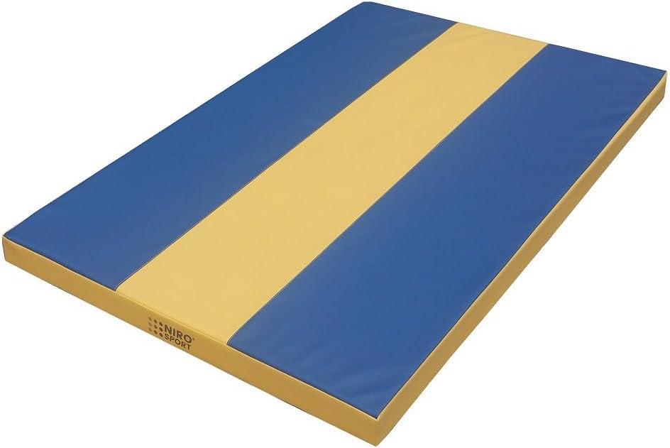 Niro Sport colchoneta 200 (150 x 100) X 100 X 8 Cm – Colchoneta deportiva de gimnasia (Sport Alfombrilla Entrenamiento Azul/Amarillo resistente al agua, azul y amarillo: Amazon.es: Deportes y aire libre