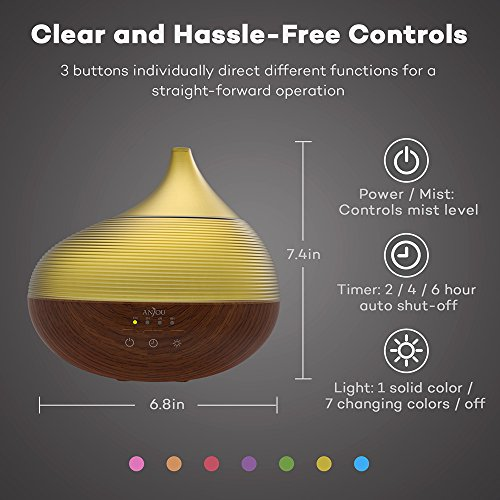 Anjou 300ml Essential Oil Diffuser Wood Grain Ultrasonic Aroma Humidifier Soothing Ripple Design (BPA-free, Up tp 10H Use, 3 Timer Settings, Waterless Auto Shut-Off)