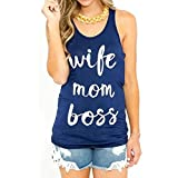 Wife Mom Boss Women's Casual Letters Printed Tank Tops T-Shirt Mother's Day Funny Shirts Tee