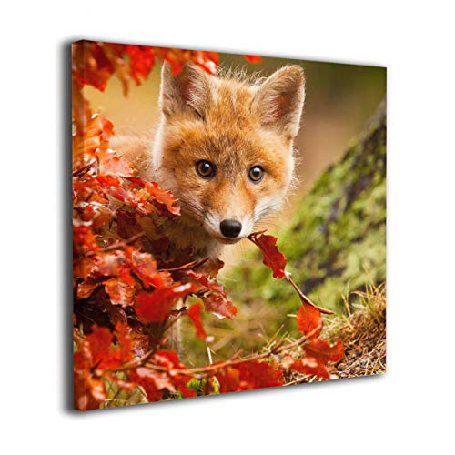 Jaylut Square Frameless Painting Print Artwork Fox Animal Leaves Drawing Picture Wall Decor for Home Office -