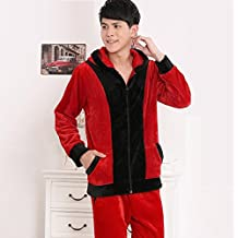 LJ&L Flannel men and women casual hood breathable home service couple suit comfort bathrobe pajamas,Men red,L