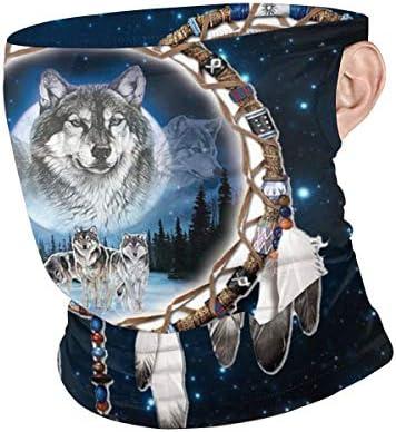 フェイスカバー Uvカット ネックガード 冷感 夏用 日焼け防止 飛沫防止 耳かけタイプ レディース メンズ Wolf And Indian Dream Catcher