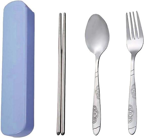 SpringPear® Juego de cubiertos de acero inoxidable portátil, 3 piezas, palillos, tenedor de cuchara con caja de almacenamiento azul para viajes, ...