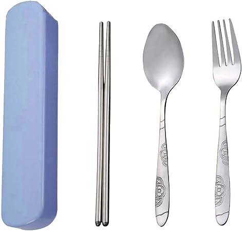 SpringPear® Juego de cubiertos de acero inoxidable, 3 piezas, juego de cucharas y tenedor con caja de almacenamiento para viajes, camping, picnic, comida china al aire libre azul: Amazon.es: Hogar
