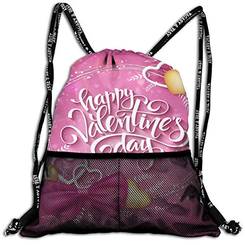 Girls Boys Drawstring Bag Theft Proof Lightweight Beam Bag, Sport Shoulder Backpack - Happy Valentines Day Waterproof Backpack Soccer Basketball Bag -