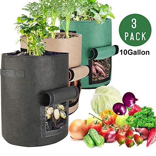 Futone 10-Gallon Grow Bags, Potato Planter Bags, Planting Fabric Pots with Handles and Flap, Garden Bags for Vegetables, Tomatoes, Carrots, Onions - 3 Pack (Black, Brown, Green) (10 Gal Planter)