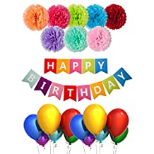 BASH STACK- 22 Pieces Birthday Party Decorations Happy Birthday Banner with Tissue Poms Latex Party Balloons Birthday Decorations Party Supplies Pack Set