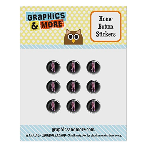 Set of 9 Puffy Bubble Home Button Stickers Fit Apple iPod Touch, iPad Air Mini, iPhone 4/4s 5/5c/5s 6/6s Plus - Sports and Hobbies - Ballet Slippers Pink Black Ballerina Dance Dancing